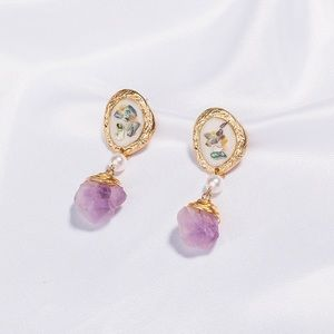 jewelry gold plated drop natural earrings amethyst